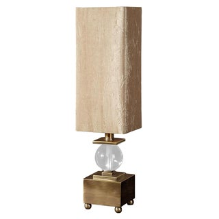 Brushed Brass & Crystal Ball Lamp For Sale