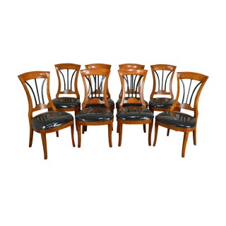 Biedermeier Style Quality Set of 8 Cherry Dining Chairs For Sale