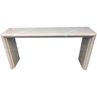 Karl Springer Style Goatskin Console Table For Sale
