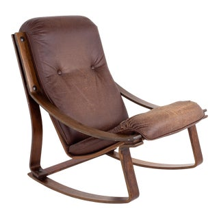 Westnofa Mid Century Rosewood and Brown Leather Rocking Chair For Sale