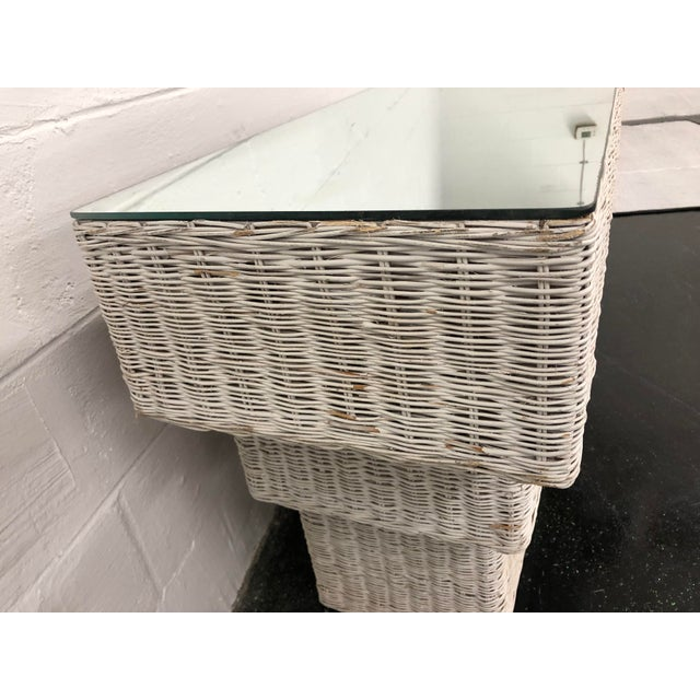 White Vintage Boho Chic Wicker Basket Woven Console Table For Sale - Image 8 of 11