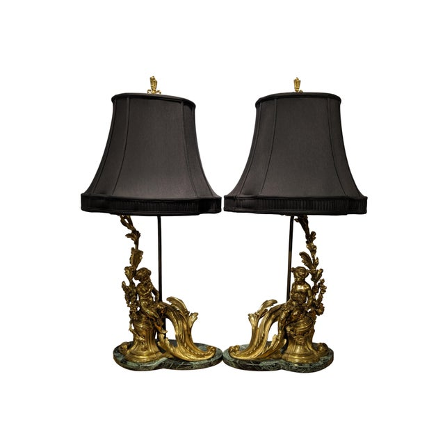 19th Century French Ormolu Chenet Lamps With Shades - a Pair For Sale - Image 13 of 13