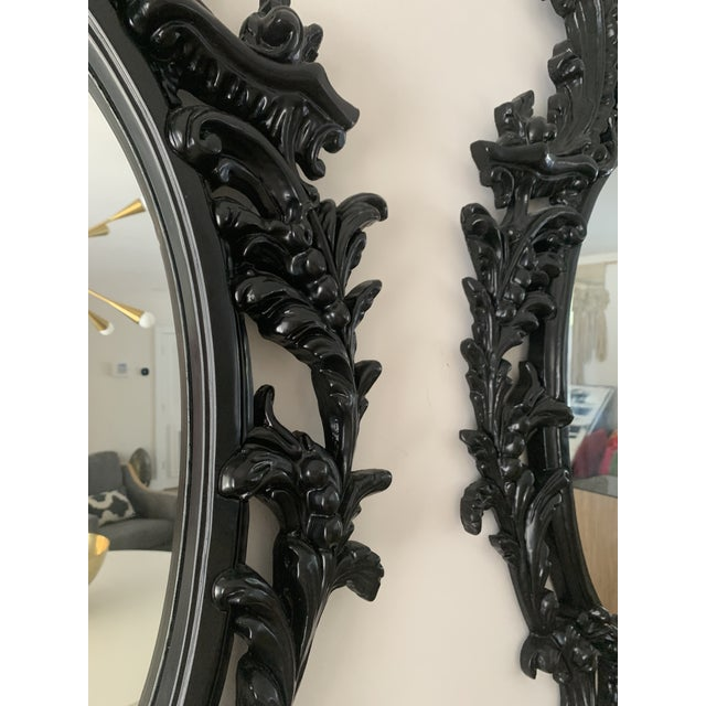 Rococo Black Lacquered Oval Mirrors - a Pair For Sale - Image 9 of 13