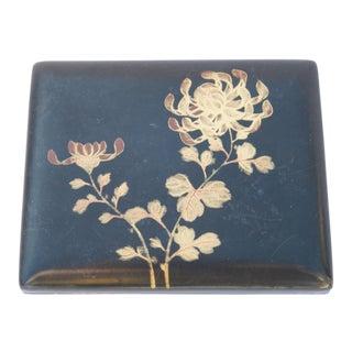 Vintage Asian Painted Floral Motif Black Lacquer Box For Sale