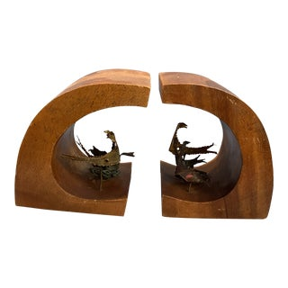 1960s Walnut Book Ends With Metal Bird Sculptures - a Pair For Sale