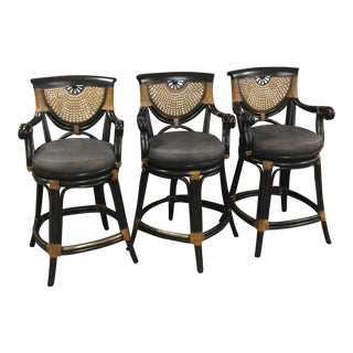 Aristica Black Rattan Barstools - Set of 3 For Sale