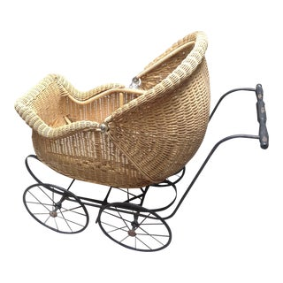 Early 1900's Victorian Baby Wicker Buggy For Sale