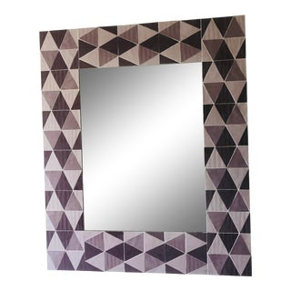 Lavender and Mauve Rectangular Geometric Opaline Glass Mirror For Sale