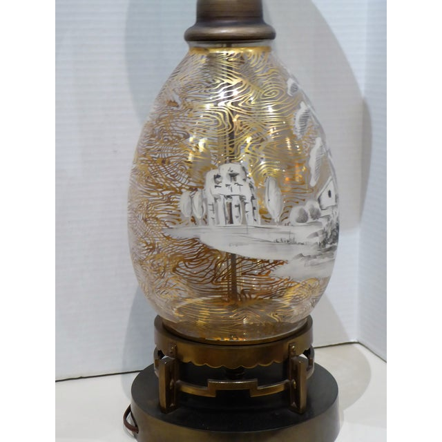 1940s Italian Hand Painted Glass Landscape Scene Table Lamp For Sale In Miami - Image 6 of 11