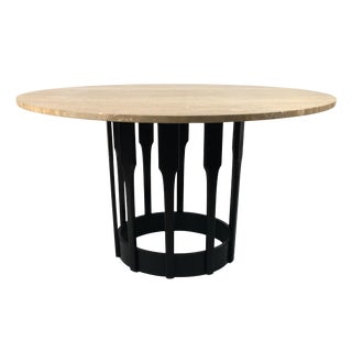Ebonized Walnut Dining Table with Italian Travertine Top For Sale