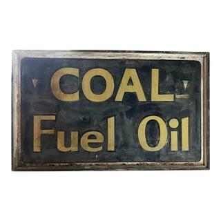 Antique Coal Fuel Sign For Sale