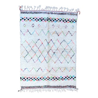 1990s White Authentic Moroccan Rug- 6′7″ × 9′3″ For Sale