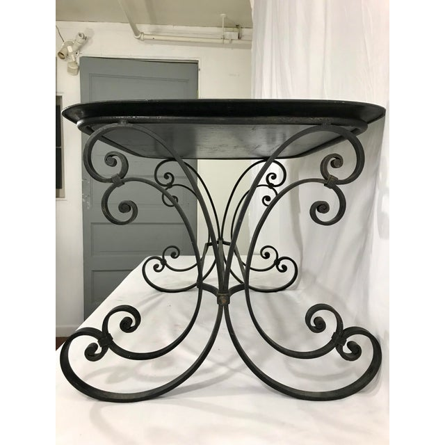 19th Century Napoleon III Painted Tray on Custom Art Deco Wrought Iron Stand For Sale - Image 5 of 9