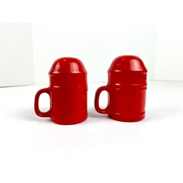 Mid-Century Modern Vintage Japanese Glazed Red Ceramic Salt and Pepper Shakers - a Pair For Sale - Image 10 of 10