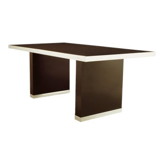 Pierre Cardin Chrome and Dark Chocolate Brown Dining Table For Sale