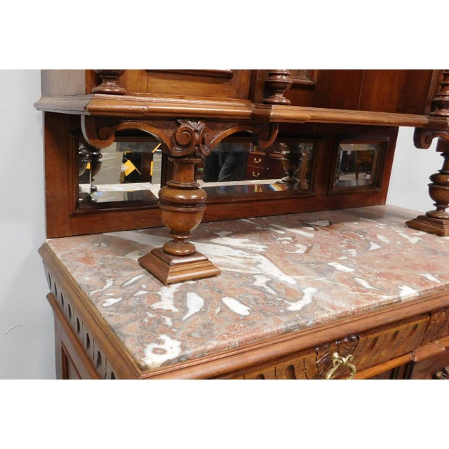 Walnut Antique Carved French Renaissance Hunt Board Marble Top Dining Room Buffet W Hutch