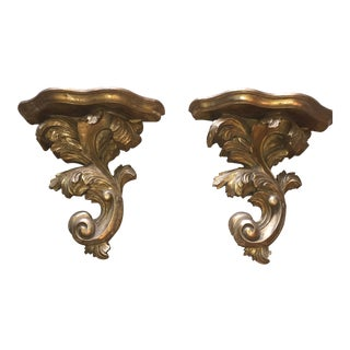 French Gold Leaf Acanthus Leaf Wall Shelves - a Pair For Sale