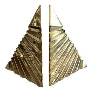 1980s Boho Chic Dara International Brass Triangular Modern Bookends - a Pair