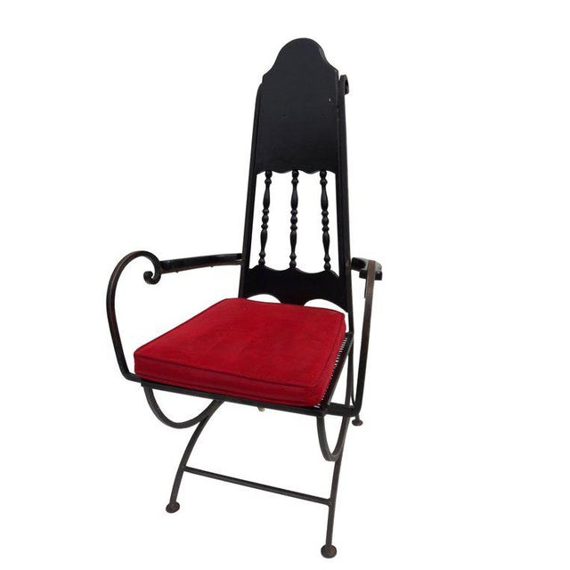 Metal Mid-Century Modern Hollywood Regency Wrought Iron & Mesh Armchair For Sale - Image 7 of 7