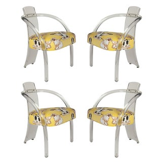 Charles Hollis Jones Lucite Chairs in Dorothy Draper Staffordshire Dog Fabric