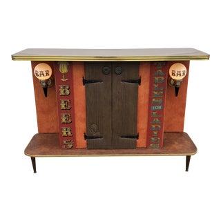 Mid Century Modern Walnut Laminate Standing Bar For Sale