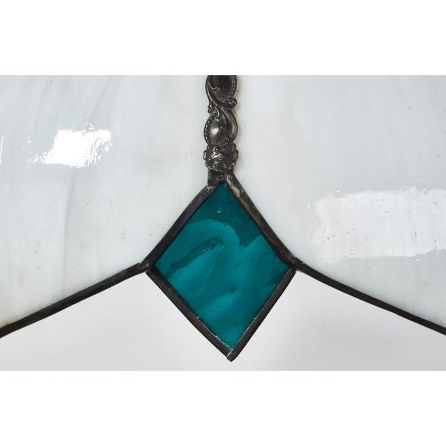 Mid-Century White Slag Glass Pendant Fixture For Sale - Image 4 of 8