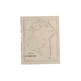 Antique Woburn Massachusetts Atlas Map Plate P