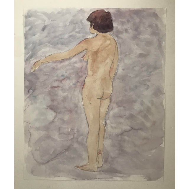Contemporary 1980s Contemporary Watercolor Painting of Standing Female Nude For Sale - Image 3 of 3