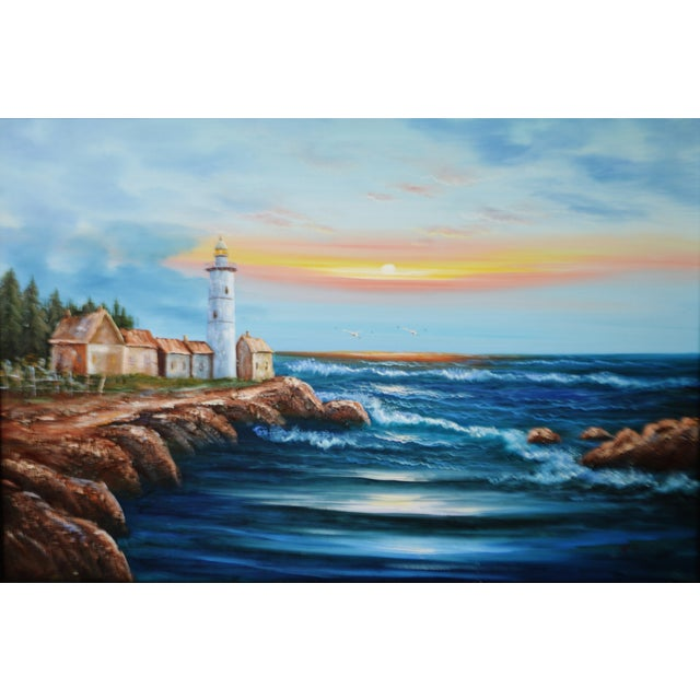 Nautical Vintage Framed Nautical Lighthouse Seascape Oil on Canvas - Artist Signed For Sale - Image 3 of 12