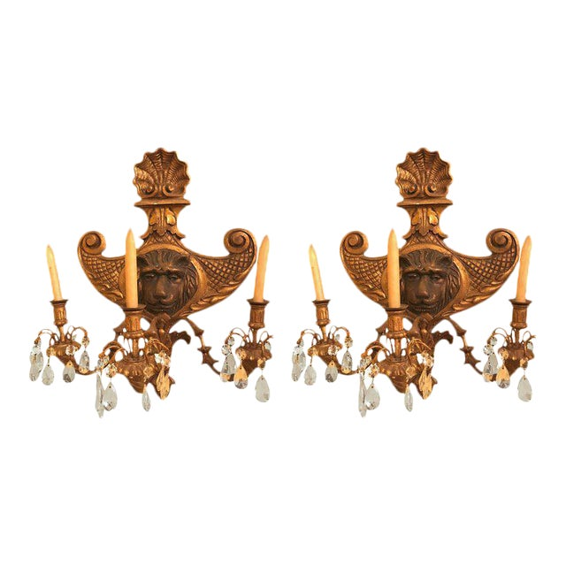 19th Century Carved Lion Head Shell Form Wooden Sconces - a Pair For Sale