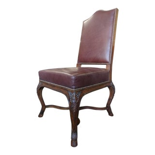 Maitland Smith Furniture Carved Italian Walnut Occasional Chair For Sale