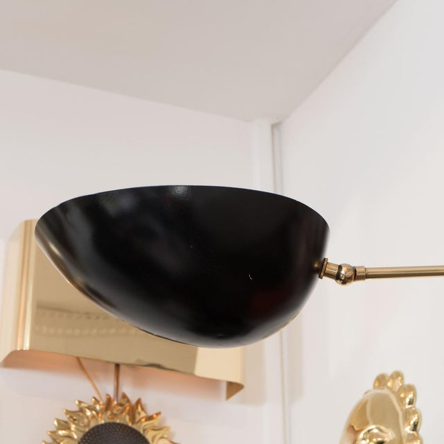 Contemporary Single Arm Brass and Black Enamel Ceiling Fixture For Sale - Image 3 of 4