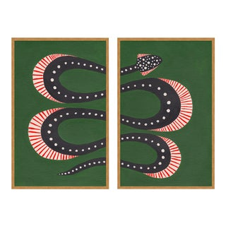 Zucchini the Snake by Willa Heart in Gold Framed Paper, Large Art Print For Sale