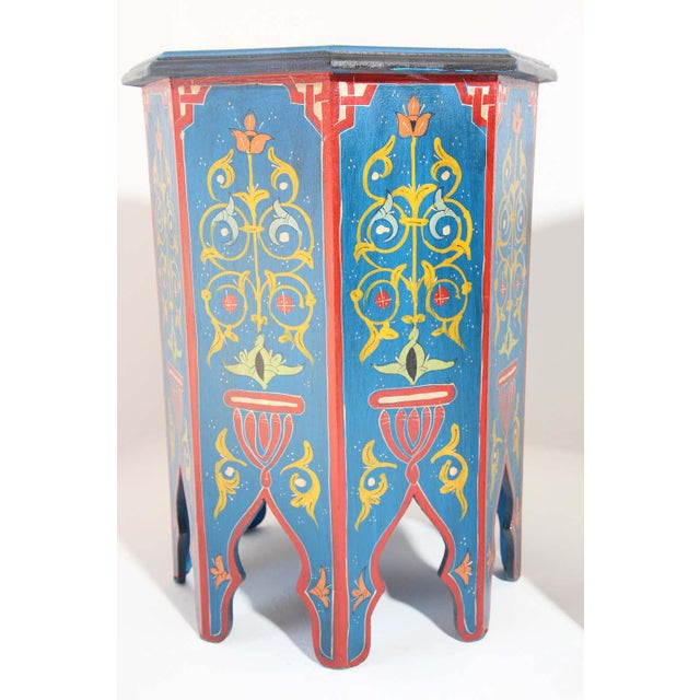 Pair of Moroccan handcrafted blue color hand painted tabourets or side tables. Octagonal shape pedestal tables with...