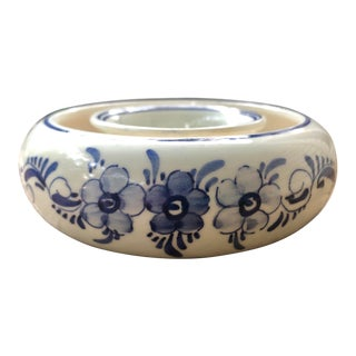 Delft Blue and White Floral Painted Flower Ring or Planter For Sale