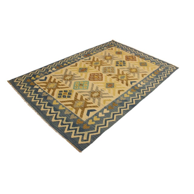 Contemporary Nancee Blue/Ivory Hand-Woven Kilim Wool Rug -5'6 X 8'5 For Sale - Image 3 of 8