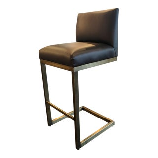 Plantation Design Blue Vinyl Bar Stool