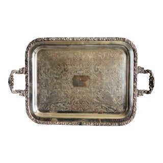 Footed Silver Plate Serving Tray With Handles For Sale