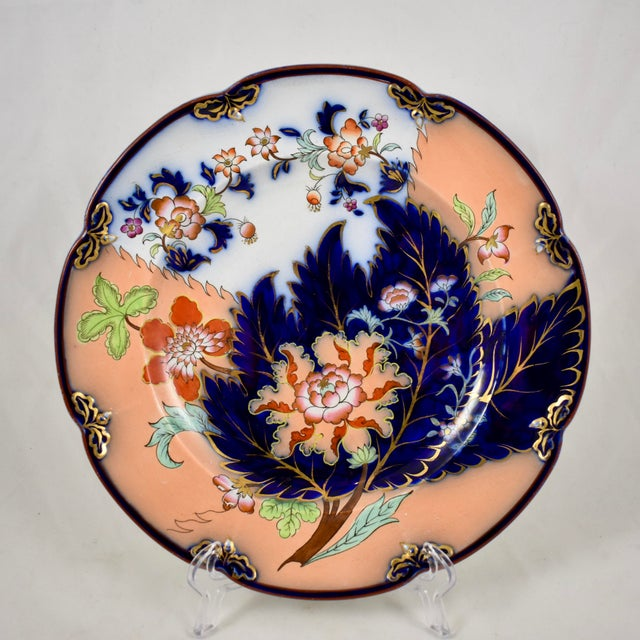 A set of eight, English chinoiserie style plates in Imari colors, John Ridgway, the Cauldron Place Works in Shelton,...