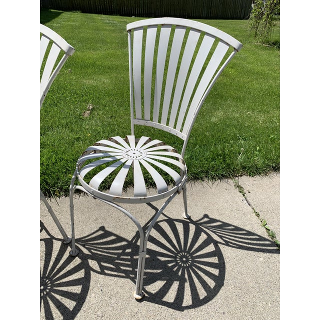 French Vintage Mid Century French Francois Carre Sunburst Garden Chairs- Set of 4 For Sale - Image 3 of 11