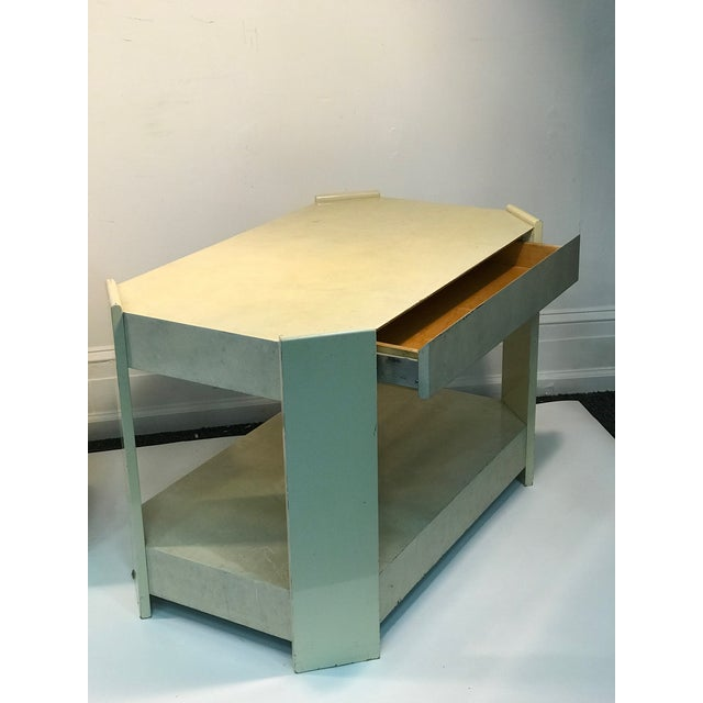 Modern Cream Lacquered Faux Goat Skin Night Stands - a Pair For Sale In Philadelphia - Image 6 of 7