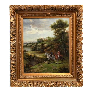 1970s English Hunt Scene Landscape Oil Painting, Framed For Sale