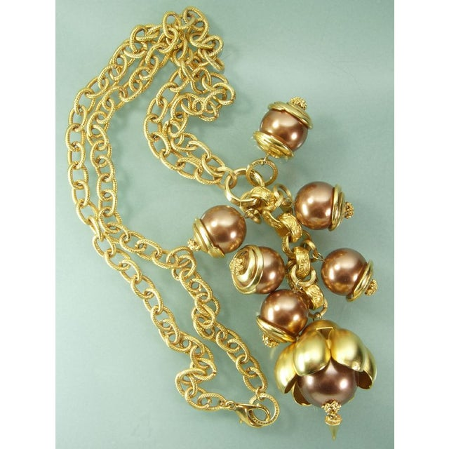 1980s Runway Cocoa Pearls Long Pendant Necklace - Image 3 of 7