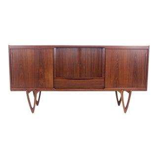 Scandinavian Modern Teak Sideboard/Credenza w/Tambour Door by Kurt Ostervig For Sale