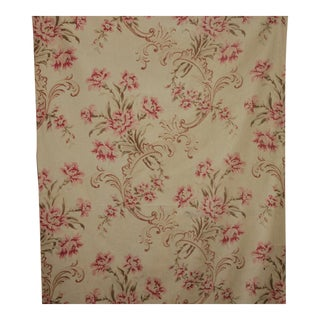 Antique Rococo French Large Scale Floral Cotton Fabric For Sale