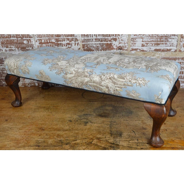 Late 19th Century Queen Anne Style Upholstered Long Footstool For Sale - Image 13 of 13