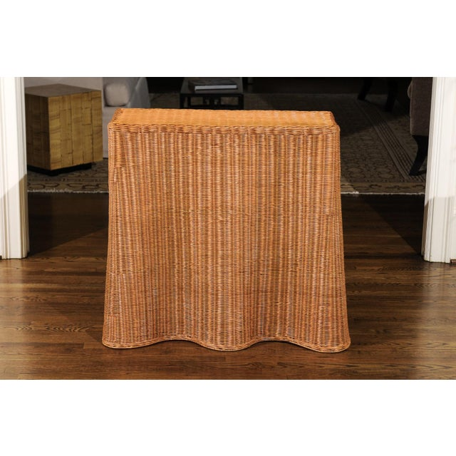 Stellar Vintage Trompe l'Oiel Drape Wicker Console Table For Sale In Atlanta - Image 6 of 13