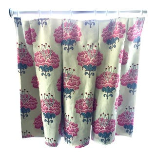 "Inverted Box Pleat Cafe Curtain Panel in Katie Ridder's ""Peony"" Fabric For Sale"