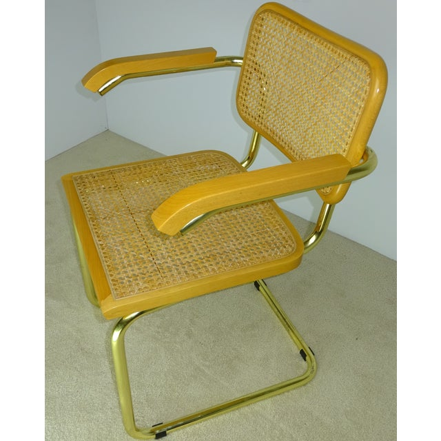 Marcel Breuer Cesca Brass Armchairs - a Pair For Sale - Image 7 of 11