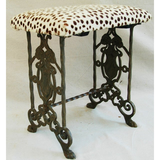 1930s Iron & Cheetah Spotted Cowhide Bench - Image 6 of 11